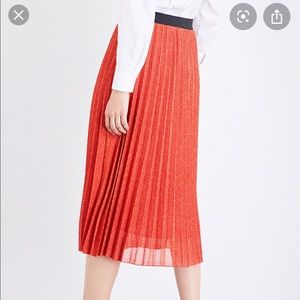 Maje orange jazy midi skirt